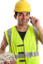 Happy builder construction worker Royalty Free Stock Images