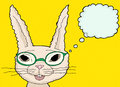 Happy bunny in green glasses fuzzy cartoon rabbit with eyeglasses over yellow Stock Images