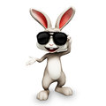 Happy bunny with sunglass easter smart Stock Photos