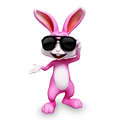 Happy bunny thumb up with sunglass easter sun glass Royalty Free Stock Photos