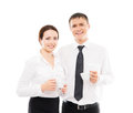 Happy business couple isolated on a white background young and caucasian people image taken in studio Royalty Free Stock Photos