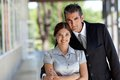 Happy business couple portrait of professional smiling Royalty Free Stock Photos