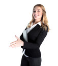 Happy business lady holding laptop and stretches out her hand for a handshake isolated on white background modern society career Royalty Free Stock Photos