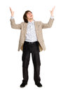 Happy business man with arms raised Stock Image