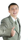 Happy business man holding thumbs up Stock Image