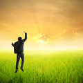 Happy business man jumping in green rice field and sun set Stock Photo