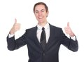 Happy business man showing thumbs up close portrait of a gesture isolated on white Royalty Free Stock Photography