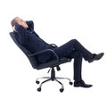 Happy business man sitting on office chair isolated on white background Stock Photo