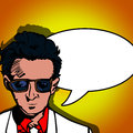 Happy business man with sunglass comic book style illustration of a smiling and speech bubble Stock Photo