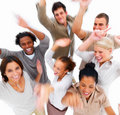 Happy business people danceing around Stock Photography