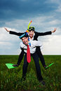 Happy business people going to vacation Royalty Free Stock Photo