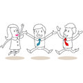 Happy business people jumping and celebrating vector illustration of monochrome cartoon characters Royalty Free Stock Image