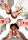 Happy business people lying on white and screaming Stock Photo