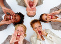 Happy business people screaming in unity Royalty Free Stock Photos
