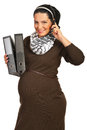 Happy business pregnant woman Stock Photos