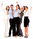 Happy business team celebrating arms up isolated over white Royalty Free Stock Image