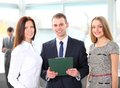 Happy business team discussing together their business strategy Royalty Free Stock Image