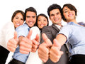 Happy business team thumbs up isolated over white background Royalty Free Stock Photo