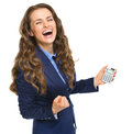 Happy business woman with calculator rejoicing isolated on white Stock Photography