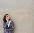 Happy business woman calling by mobile phone Royalty Free Stock Photo