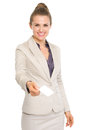 Happy business woman giving business card isolated on white Stock Photos