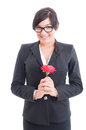 Happy business woman holding a flower feeling excited surprised and loved Stock Images