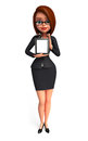 Happy business woman with ipad d rendered illustration of Stock Image