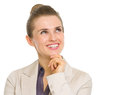 Happy business woman looking on copy space isolated white Royalty Free Stock Image