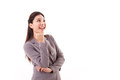 Happy business woman looking up to blank space Royalty Free Stock Photo