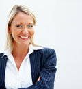 A happy business woman over white background Stock Photography