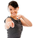 Happy business woman pointing at the camera Stock Photos
