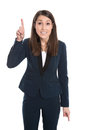 Happy business woman is pointing with forefinger isolated on whi caucasian white Royalty Free Stock Photo