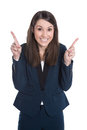 Happy business woman is pointing with forefinger isolated on whi caucasian white Royalty Free Stock Images