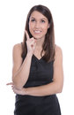Happy business woman is pointing with forefinger isolated on whi white joy Royalty Free Stock Photo