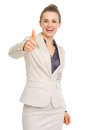 Happy business woman showing thumbs up isolated on white Royalty Free Stock Photo