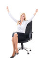 Happy business woman sitting in office chair and celebrating suc success isolated on white background Royalty Free Stock Image