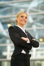 Happy business woman smiling in the city portrait of a Royalty Free Stock Photos