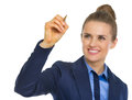 Happy business woman writing in air Royalty Free Stock Photo