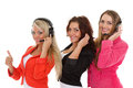 Happy business women with headset young on a white background operators of support service Royalty Free Stock Photo