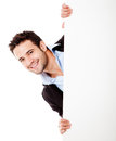 Happy businessman with banner Stock Photo