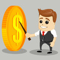 Happy businessman with big gold coin. Money concept, business man winner.