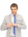 Happy businessman bright closeup portrait picture of Royalty Free Stock Photos