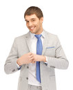 Happy businessman bright closeup portrait picture of Stock Photo