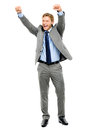 Happy businessman celebrating success isolated on white backgrou business man arms up Royalty Free Stock Image
