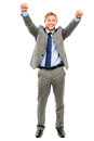 Happy businessman celebrating success isolated on white backgrou business man arms up Stock Image