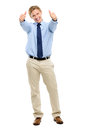 Happy businessman celebrating success isolated on white backgrou showing thumbs up sign Stock Photos