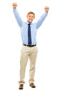 Happy businessman celebrating success isolated on white backgrou smiling full length Royalty Free Stock Photo