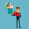 Happy businessman holding credit card and shopping bag with icons. Flat design style. Royalty Free Stock Photo