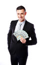 Happy businessman holding us dollars isolated on a white background Royalty Free Stock Photo