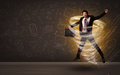 Happy businessman jumping in tornado concept Royalty Free Stock Photo